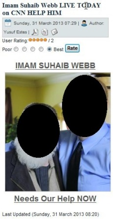 "Yusuf Estes begs his ""IslamNewsRoom"" visitors to HELP IMAM SUHAIB WEBB, meaning help promote his Easter Day Interfaith Dialogue on CBS. (March 31, 2013)"